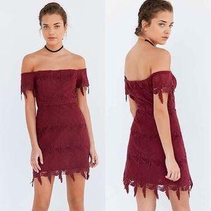 Astr Valentina Off the Shoulder Lace Mini Dress